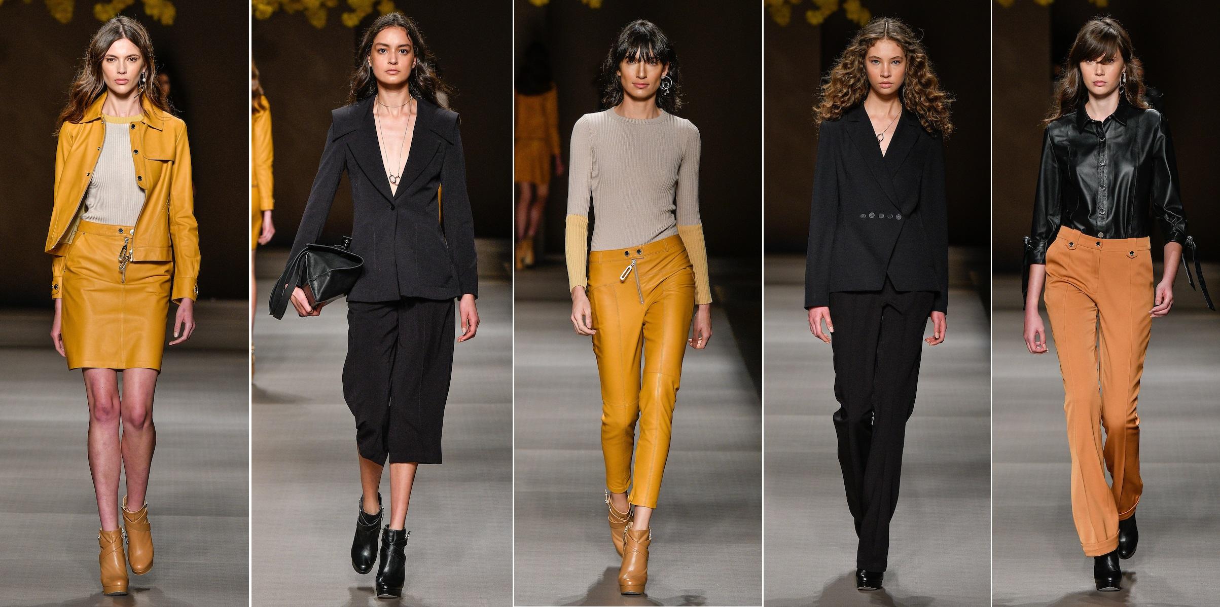 e0f987e84 O uso de couro foi bem evidente nas cores bege e preto, sendo aplicado em  calças, jaquetas, saias, e em acessórios como as botas de cano curto e as  bolsas ...